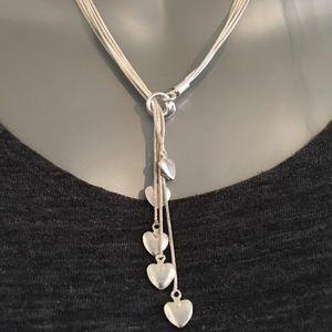 Silver Muti Hearts - Bolo Style Necklace